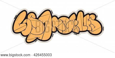 Los Angeles Graffiti Style Hand Drawn Lettering. Can Be Used For Printing On T Shirt And Souvenirs.