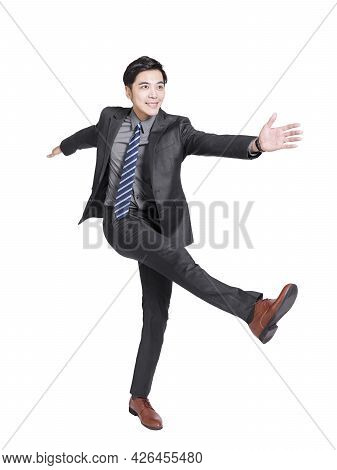 Young Businessman Man Walking Forward Confidently Background