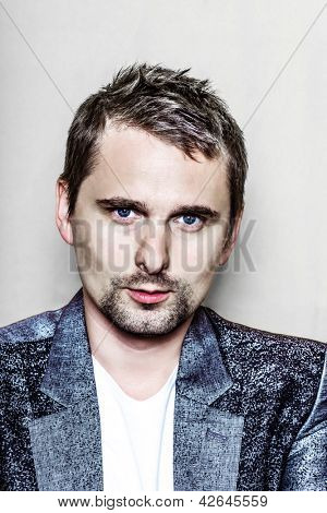 PARIS, FRANCE - JULY 04, 2012: Portrait of the english rock group Muse lead vocalist Matthew Bellamy at Paris, France on july 4th, 2012