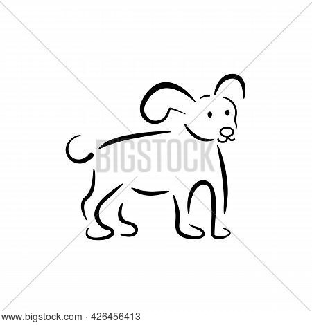 Dog Linear Emblem. Vector Abstract Animal Sign. Happy Dog Standing Full Profile Right Side. Design T