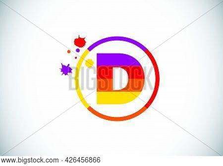Initial D Monogram Letter Alphabet In A Circle With Brush Splash. Font Emblem. Modern Vector Logo De