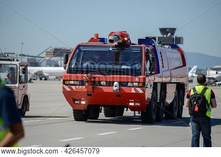 Switzerland - 05.29.2015 - Transport At A Airport. Car On The Runway. High Quality Photo