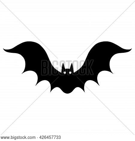 Bat Vector Icon. Isolated Illustration On A White Background. Black Silhouette Of A Predator. Hand D