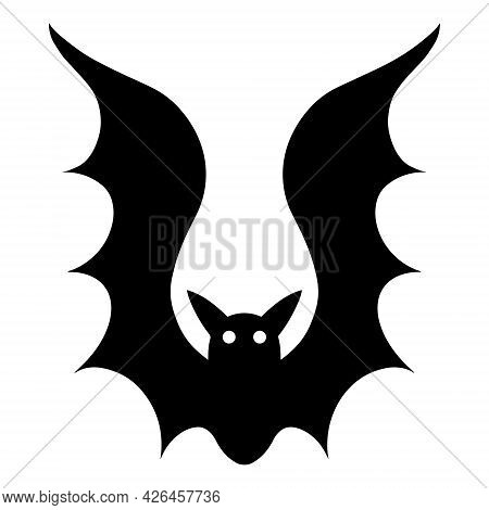 Bat Vector Icon. Isolated Illustration On A White Background. Night Vampire. Black Silhouette Of A B