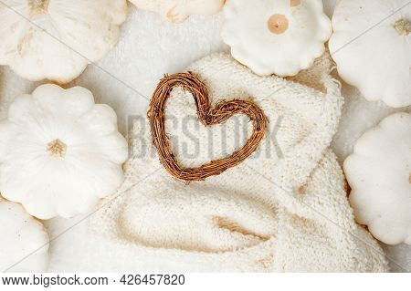 Creative Autumnal Card - White Sweater, Pumpkin And Heart Wreath On White Background Copy Space, Min