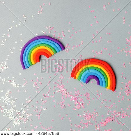 A Rainbow Made By Hands From Multi-colored Plasticine, Clay. Children's Creativity, Diy, Handcrafted