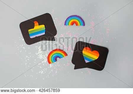 Happy Pride Month Banner For Lgbt Rights Or Social Issues Event. Colorful Rainbow Heart And Thumb Up