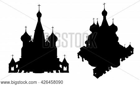 Silhouette Of A Sacred Temple With Domes Isolated On A White Background. Front And Isometric View. V