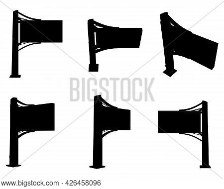 Set With Silhouettes Billboards In Different Positions Isolated On White Background. Vector Illustra