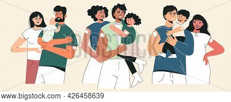 Vaccine And Family Vaccinated Concept. Set Of Young Parents With Kid And Infant After Injection Shot