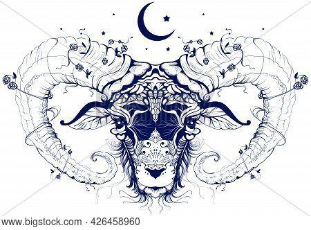 Ram Head Abstract Drawing Crescent Moon Sacrifice Symbol