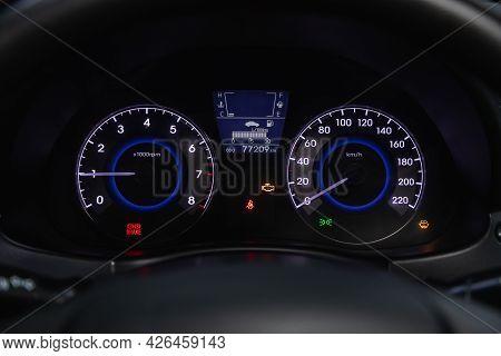 Novosibirsk, Russia - June 29, 2021: Hyundai Solaris, Car Panel, Digital Bright Speedometer, Odomete