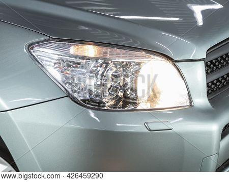 Novosibirsk, Russia - June 29, 2021: Toyota Rav-4,  Close Up Of The Car Headlights. Exterior Closeup