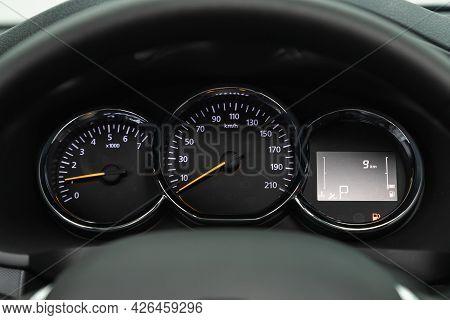 Novosibirsk, Russia - June 29, 2021: Renault Logan, Car Panel, Digital Bright Speedometer, Odometer