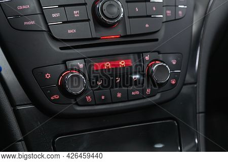 Novosibirsk, Russia - June 29, 2021: Opel Insignia, Black Detail With The Air Conditioning Button, T