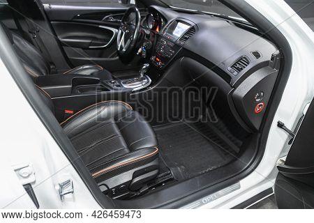 Novosibirsk, Russia - June 29, 2021: Opel Insignia, Car Interior - Steering Wheel, Shift Lever And D
