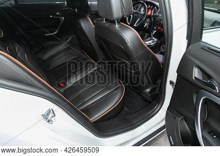 Novosibirsk, Russia - June 29, 2021: Opel Insignia, New Car Inside.black Back Seats In Universal .