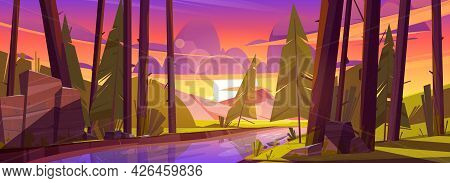 Summer Forest With River, Green Grass And Mountains On Background. Sunset Scene Of Natural Park With