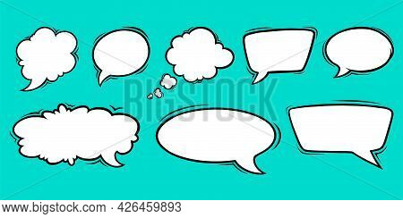 Speech Bubble Templates For Discussions And Chats. Set Of Speech Boxes Isolated In Green Background.