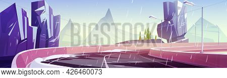 Car Road In Mountains At Winter. Vector Cartoon Landscape Of Rocks And Highway With Street Lamps And