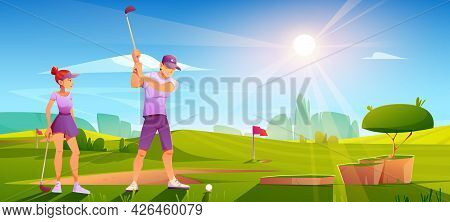 Golfers Playing Golf On Green Field Hitting Ball With Club On Nature Course Landscape Background Wit