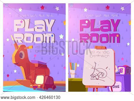 Playroom Posters With Toys And Furniture For Kids. Vector Flyers Of Kindergarten Or Daycare Center W