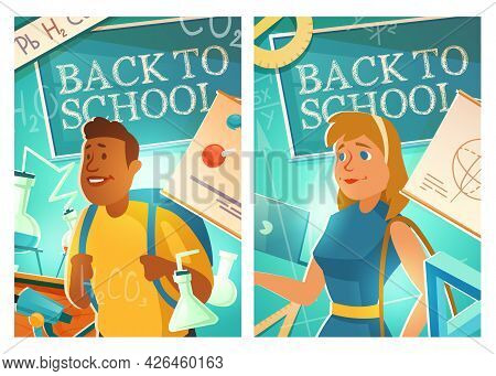 Back To School Cartoon Posters With Girl And Boy Students Wearing Schoolbags Stand In Classroom With