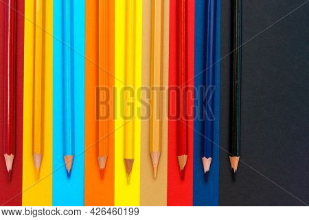 Colored Pencils Close Up. Colored Pencils For Preschoolers And Schoolchildren. Childrens Stationery