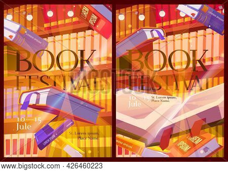 Book Festival Posters With Library Interior. Invitation Flyers To Event With Literature Presentation