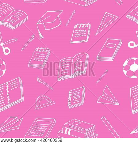 Back To School Seamless Pattern. Hand Drawn Doodle. Vector, Minimalism, Cartoon. Stationery, Book, N