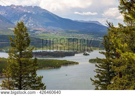 Scenic View Of Dillon Reservoir From Sapphire Point Overlook. Summit County, Colorado