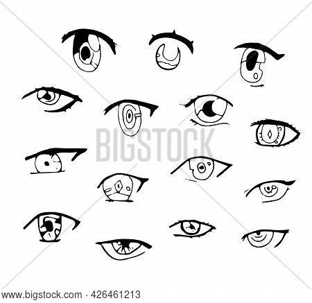 Set Of Hand Drawn With Ink Doodle Anime, Manga Eyes