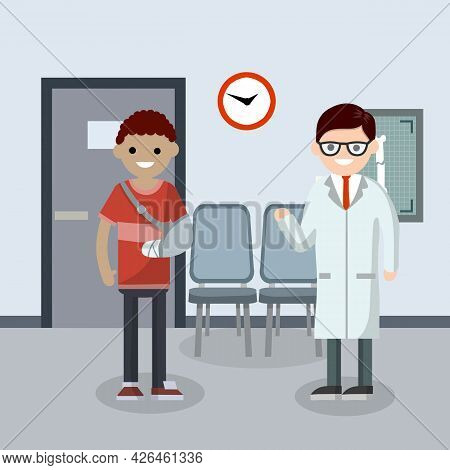 Man With Broken Arm In Cast In Hospital Room. Cartoon Flat Illustration. The Provision Of Medical Ca