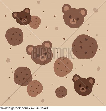 Kawaii Background Of Chocolate Cookies And Bear Heads
