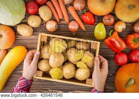 Man Holding Wooden Crate Ob Fresh Potatoes Near Different Vegetables. Top View.