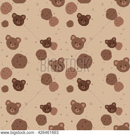 Kawaii Seamless Pattern Of Chocolate Cookies And Bear Heads