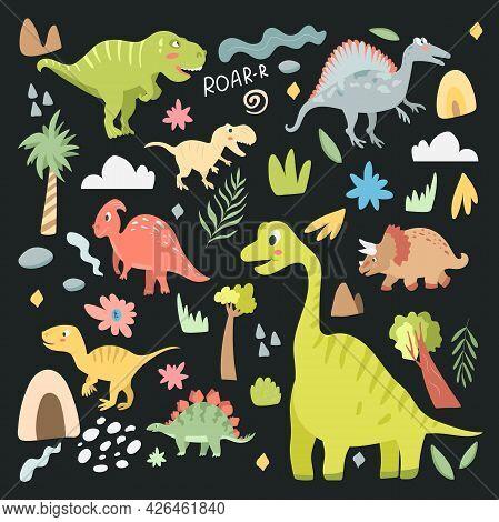 Set Of Cute Carnivorous And Herbivorous Dinosaurs Isolated On Dark Background. Vector Illustration I