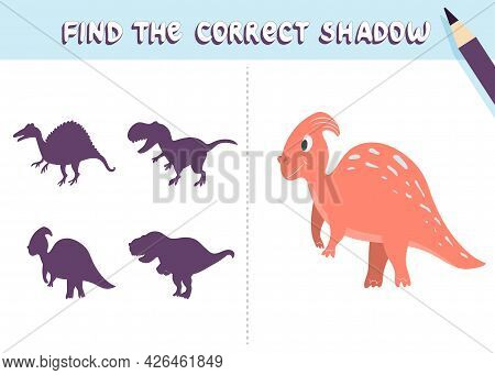 Find The Correct Shadow. Cute Dinosaur. Educational Game For Kids. Collection Of Children's Games. V