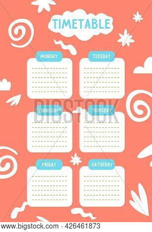 Kids School Timetable Template For The Week, To-do Sheet, Planner With Abstract Elements On Red Back