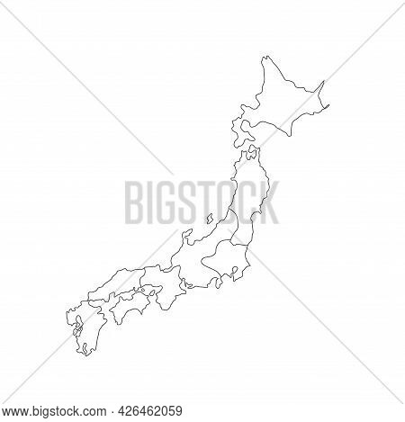 Map Of Japan In High Detail Resolution. Mesh Lines And Points Form Map Of Japan.