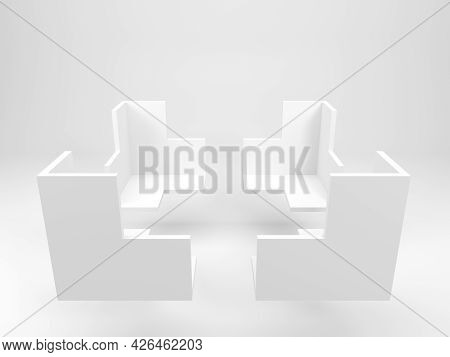 Abstract White Geometric Object In Shape Of Corners Of A Bounding Box For Products Presentations Is