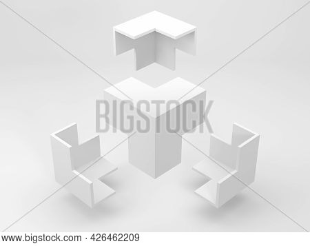 Abstract White Geometric Installation, Flying Corners Of An Empty Bounding Box Are In A White Studio