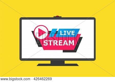 Live Stream Screen. Video Player Layout, Multimedia Frame Template. Digital Movie, Web Window Vector