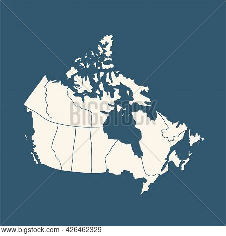 Canada Country Political Map. Detailed Vector Illustration With Isolated States, Islands And Cities