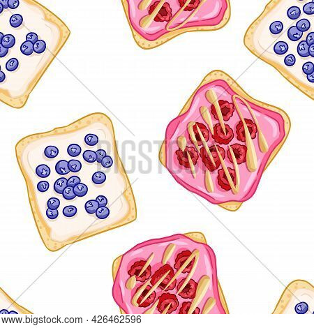 Toast Bread Sandwiches Comic Style Seamless Border Pattern. Sandwiches With Berries Blueberries And