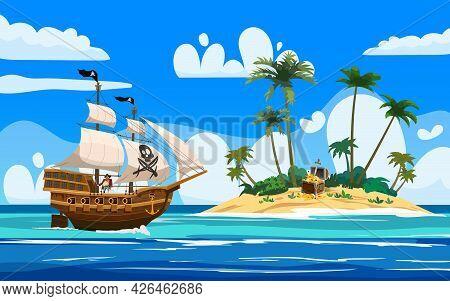 Pirate Ship Naval Armed N Ocean, Tropical Island, Treasure Cheast, Tropical, Palms. Sea Landscape Co