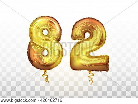 Vector Golden Foil Number 82 Eighty Two Metallic Balloon. Party Decoration Golden Balloons. Annivers
