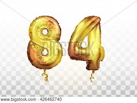 Vector Golden Foil Number 84 Eighty Four Metallic Balloon. Party Decoration Golden Balloons. Anniver