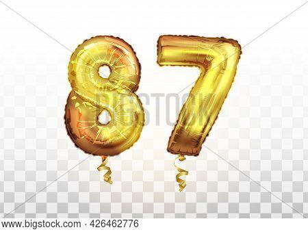 Vector Golden Foil Number 87 Eighty Seven Metallic Balloon. Party Decoration Golden Balloons. Annive