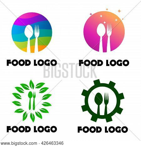 Set Of Food Logo,cutlery With Colorful,cutlery With Gear, And Cutlery With Leaf, Good For Restaurant